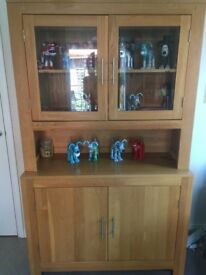 Perfect condition oak display cabinet with lights
