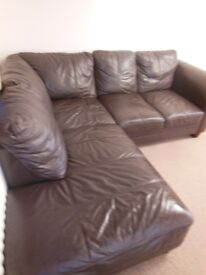 Brown Leather corner sofa and one armchair
