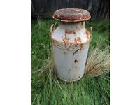 LARGE OLD WHITE METAL VINTAGE FARM MILK CHURN ORNAMENT WITH PATINA ARCHITECTURAL SALVAGE SHABBY CHIC