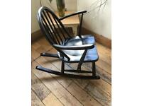 A SUPER VINTAGE ERCOL CHILD /SMALL ADULTS ROCKING CHAIR
