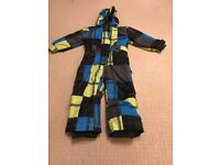 Blue, lime and black all in one boys ski suit
