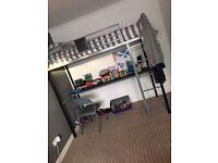 Bunk desk frame + mattress and chair