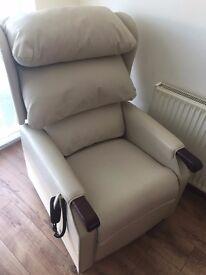 Riser Recliner Cream Leather Chair