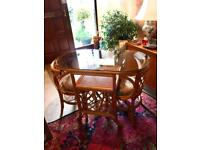Cane & glass dining set