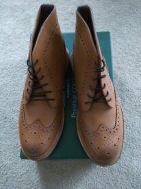 Men's tan brogue boots BNIB quality leather cost new £120