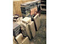 Approx 200 bricks/paving slabs/sand/unused diamond cut blade