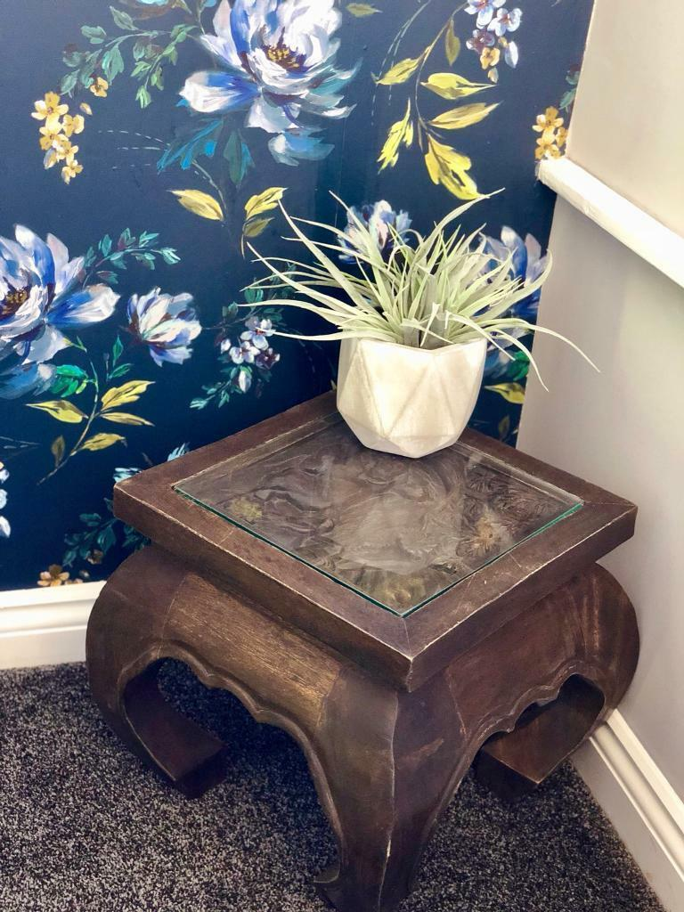 Thai Handcarved Teak Wood Side Table With Gl Top