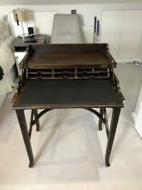 Oka desk with folding top bureau style with inlaid leather leaf