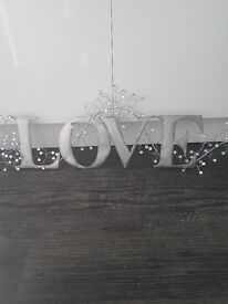 Silver love wall art