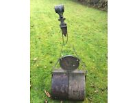 Large Antique Cast Iron Garden Roller -Smith Leeds Lion Emblem