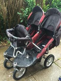 Twin buggy with toddler seat