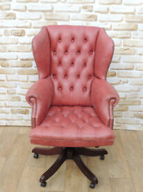 High Back Unique Swivel Chair Captains Chesterfield (Delivery)