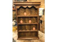 Hand crafted pine egg rack and hand crafted pine spice rack