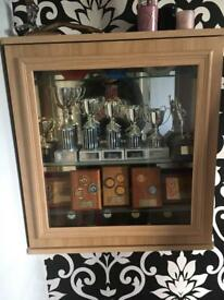 2 x mirror trophy display cabinets