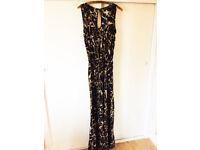 Dorothy Perkins Jumpsuit Size 12 UK (40 Eur) Wide Leg Belt Black Brown Beige Splash Pattern