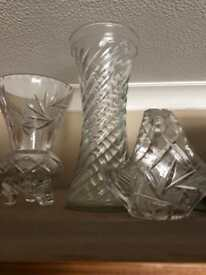 Lead crystal small and large vase and bowl