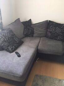 Corner sofa cuddle chair and pouffe