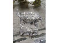 x 10 Silver Snowflake Print Mini Organza Bags ❄️