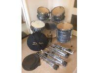 Pearl Export EXR Series 5 Piece Drum Kit - Strata Black + Zildjian and Sabian Cymbals + Hardware