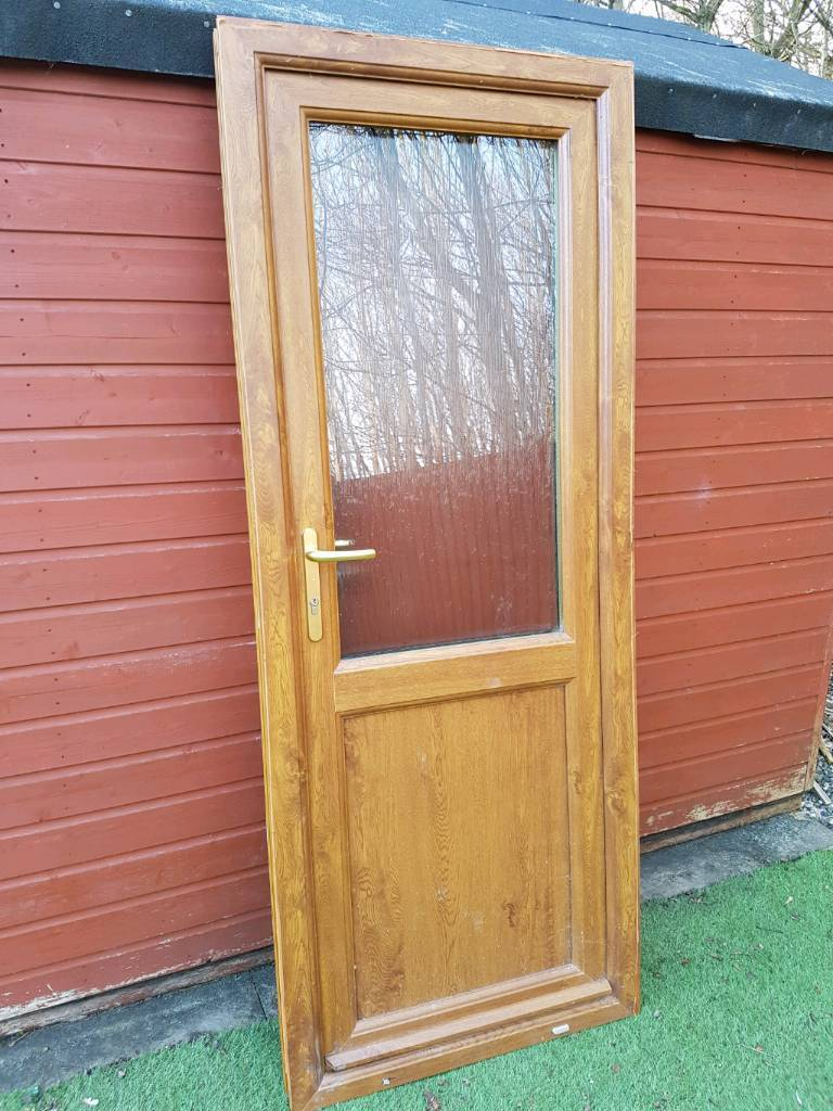 upvc double glazed light oak exterior door in