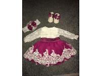 Beautiful baby girls dress, hairband & shoes 3-6 months
