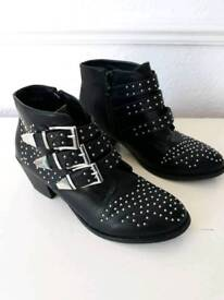 Black Studded Ankle BOOTS size 6