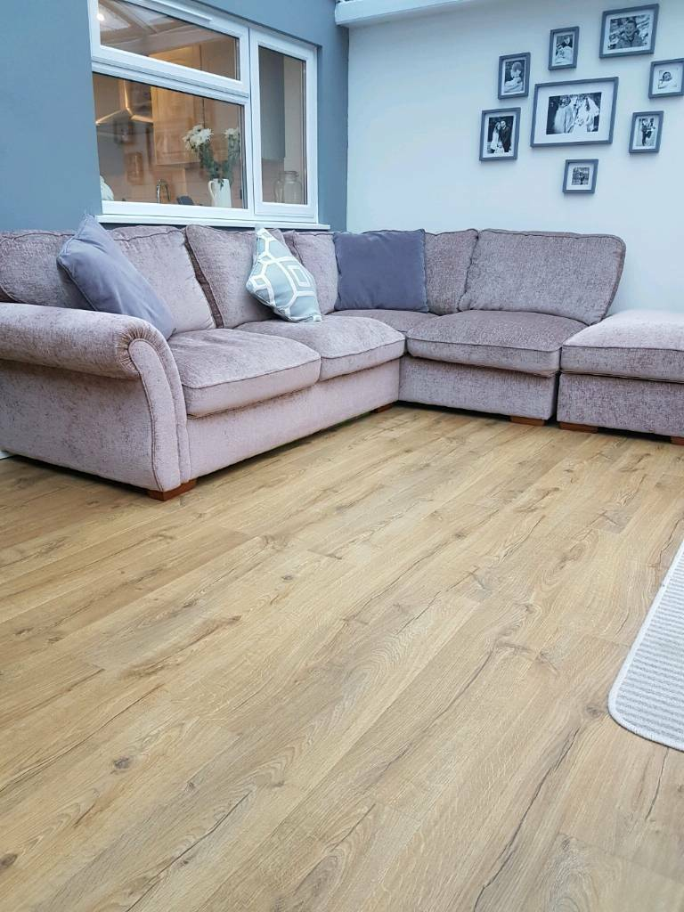 Large furniture village corner sofa and foot stool