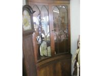 VINTAGE ORNATE 'GOTHIC' STYLE CORNER CABINET. LIT. LOCK & KEY. CURVED. VIEWING/DELIVERY AVAILABLE