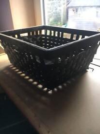 Ikea black wicker baskets (pair)