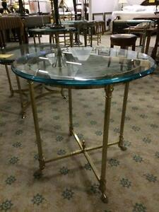 TABLES  A CAFÉ EN LAITION & VITRE -VINTAGE- BRASS & GLASS COFFEE TABLES