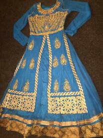Brand new gold & blue party dress