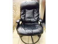 Rocking Black Leather Recliner Chair and Stool