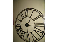 Skeleton clock,huge striking metal battery wall clock with Roman numerals