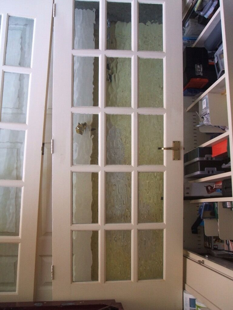 Wooden Internal French Doors Glazed Come With Hinges Bolts And