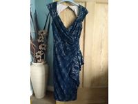 Ladies Debenhams Debut Navy Lace Cut Out Back Dress Size 6