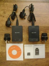 *** Belkin F5D4072uk Powerline AV Adaptor, Twin-APack (200mpbs) Black from £25***