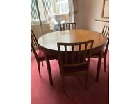 A VINTAGE/ANTIQUE EARLY 80s NATHAN TEAK EXTENDING 4/6 SEATER DINING TABLE & 4 CHAIRS LOCAL DELIVERY
