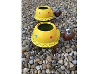 2 Brand new novelty metal painted tortoise planters