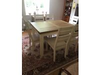 New Compton oak dining table and 6 chairs