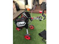 Titleist tour staff bag and cube golf trolley