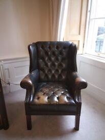 Rare Full Button Antique Vintage Chesterfield Chair