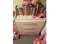 White 3 piece furniture set, Cot/bed with matress, Chest of draws/changing unit and wardrobe