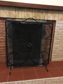 antique / vintage black cast iron fireplace surround / fireguard