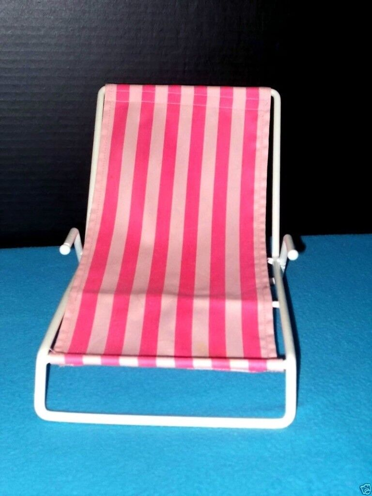 Build-A-Bear Pink & White Stripped Beach Chair