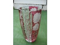 Rose and Leaf Lead Crystal Cut Glass Vase for £8.00