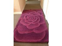 Utopia 3D floral wool rug, purple/aubergine