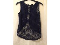 Dark blue lace, airy top with bows on the back, size 6/34