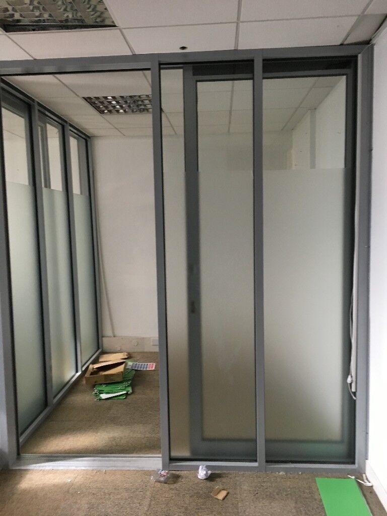 office sliding door. Grey Aluminium Office Partitions Glazed With Sliding Doors. Door