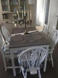 Shabby chic, dining table and 6 chairs.