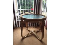Rattan & glass coffee table